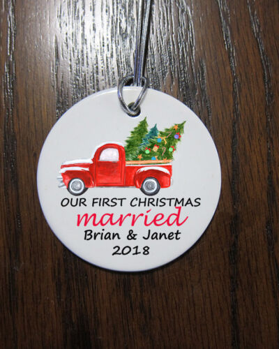 Our first Christmas married truck Christmas Ornament  2019 custom