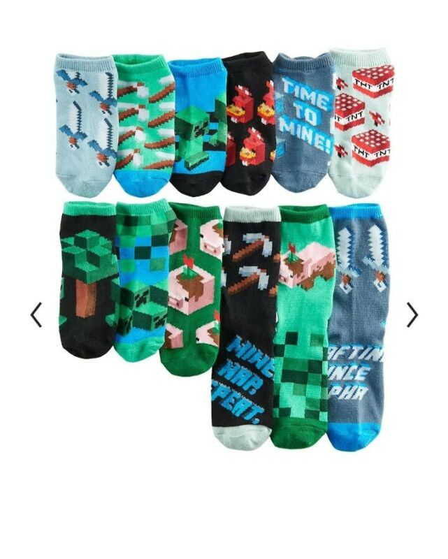 MINECRAFT EARTH 12 DAYS OF SOCKS Unisex Boy Girl SHOE SIZE 10 to 4 no show, crew