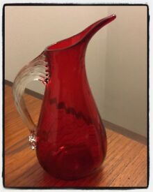 60's Whitefriars ruby red glass jug with clear handle, pattern number 9419