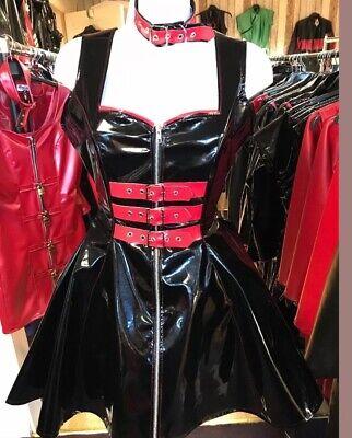 Misfitz  black/red pvc buckle skater dress+choker size 18 TV CD Goth Rockabilly