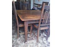 VINTAGE OAK DINING TABLE with 6 CHAIRS
