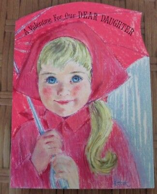 Vintage Hallmark Valentine For Daughter Little Girl In Raincoat Signed Front Pic