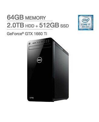 DELL XPS 8930 DESKTOP i7-9700 64 2TB HDD 512GB SSD GTX 1660Ti WIN 10 HOME