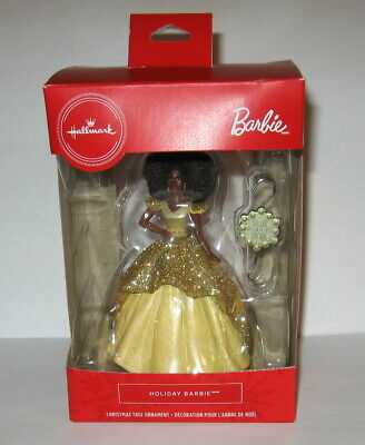 2020 Hallmark Holiday Barbie African American Gold Dress Red Box Ornament