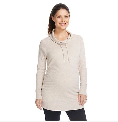 Liz Lange Maternity Long Sleeve Top  Howl Tunic Sweater Size 2XL Oatmeal Beige