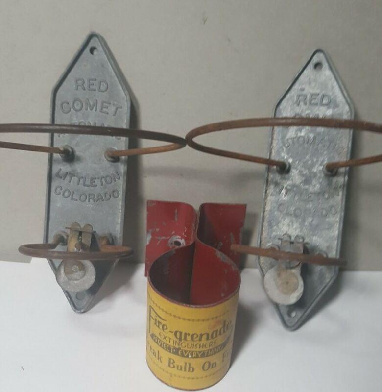 Set 2 Antique Vintage Red Comet Fire Extinguisher Wall Brackets & Fire Grenade