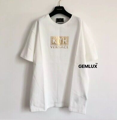 VERSACE x KITH White Gold Logo T-Shirt Size XXXL