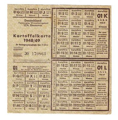 Kartoffelkarte 1948/49 LEA Hannover Besatzung Lebensmittelmarken Dokument