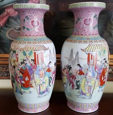 Old Rare Antique Beautiful Mirror Pair Chinese Porcelain Vases Hand