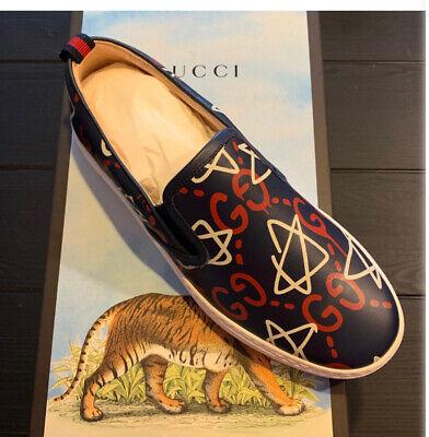 Brand New GUCCI 'Ghost' Dublin GG Blue Red White Men's Shoes Slip On Sz 10