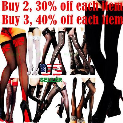 Stockings Thigh High Socks Stocking Sheer Lace Topped Fishnet Nylons Hosiery USA