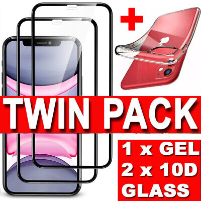 10D Screen Protector & Case iPhone 11,Pro Max,XR,XS Gorilla FULL Tempered Glass