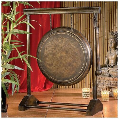 Asian Gong Metal Antique Art Collection Chinese Percussion Oriental Decorative