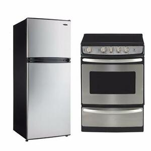 "Low Price 24 ""Stainless Steel Range and Refrigerator Set"