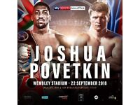 Anthony Joshua vs Povetkin tickets ( 2 tickets Block LL ) Centre view of the ring on flat floor