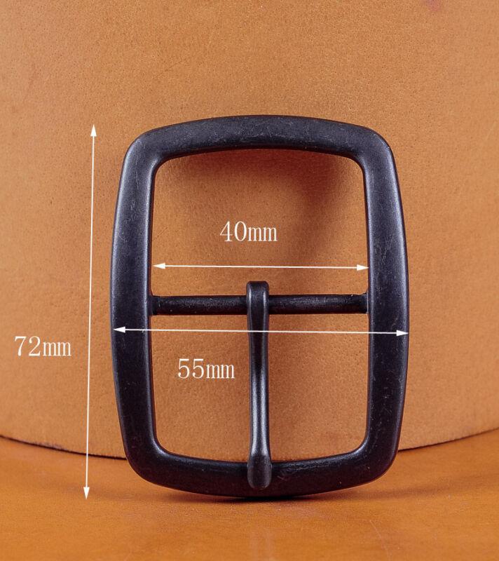 Vintage Silver Square Center Bar Pin Buckle for Leathercraft Belt Fit 40mm Strap