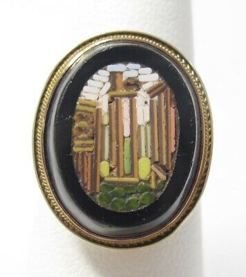 Vintage Solid 14k Yellow Gold Mosaic Columns Black Onyx Ring Size 6.25 14k Yellow Gold Mosaic