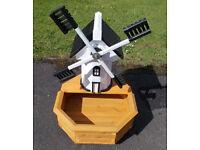 Wooden Windmill Garden Planter