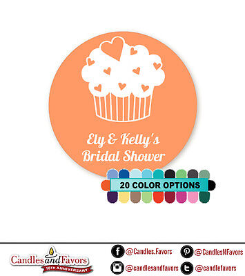 Cupcake Love - Round Personalized Bridal Shower/Wedding Sticker Labels-20 colors