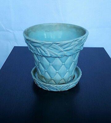 Vintage McCoy Small Baby Blue Leaves Quilted Flower Pot Vase Planter