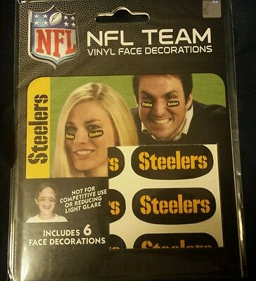 NFL 6 Eye Black Strip Stickers Pittsburgh Steelers (Face/Body Decorations)3 pair