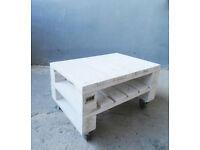 Whitewash Rustic Pallet Wood Coffee Table