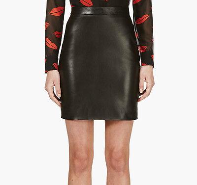 Saint Laurent YSL Black Lambskin Leather High Rise Waist Mini Skirt Size 34