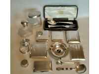 Large Lot of Antique Solid Silver Five Cig Cases, Vanity Jars, Napkin Rings, Cased Christening Set +