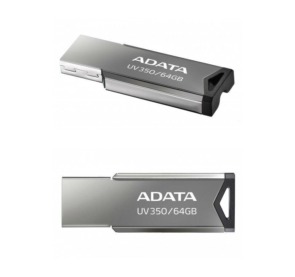 New ADATA 64GB UV350 Gray USB 3.2 Flash Pen Thumb Drive Genu