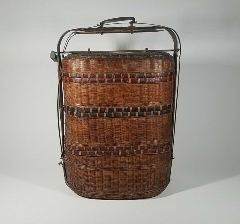 "ANTIQUE CHINESE WEDDING BASKET 3-TIER WOVEN WICKER WITH LOCK 19.5"" TALL"