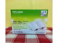 TP - LINK AV 200 nano POWERLINE ADAPTER STARTER KIT ( new )