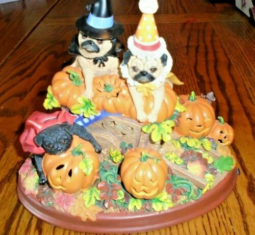 Danbury Mint Halloween Pumpkin Patch Pugs Dog Lighted Figurine