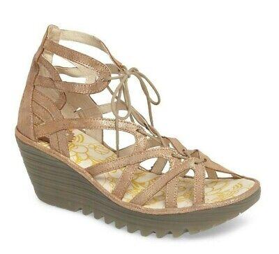 FLY London Yuke Lace-Up Leather Platform Wedge Sandal Size EU 40 US 9.5-10 Lace Up Platform Sandal