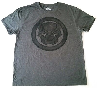 Sz Large - Black Panther Symbol Icon Logo Signal Charcoal Gray Marvel Tee Shirt