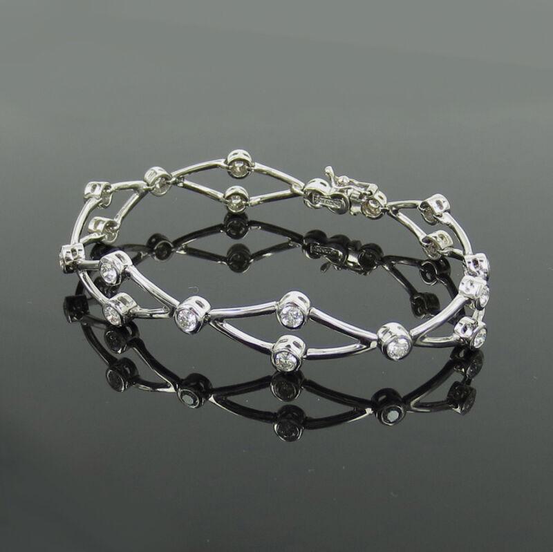 Fine Gerard 1.90ct Perfect Cut Diamond 18k White Gold Criss Cross Bracelet