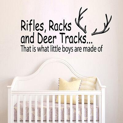 Wall Decal Quote Deer Tracks Hunting Vinyl Sticker Boys Room Nursery Decor - Hunting Nursery Decor