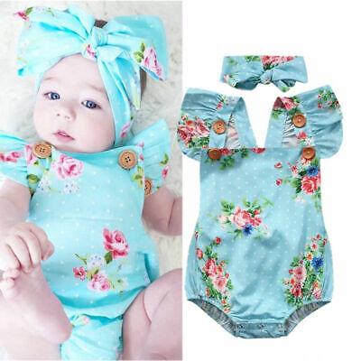 Newborn Baby Girls Floral Romper Jumpsuit One-piece Sunsuit Headband Clothes Set