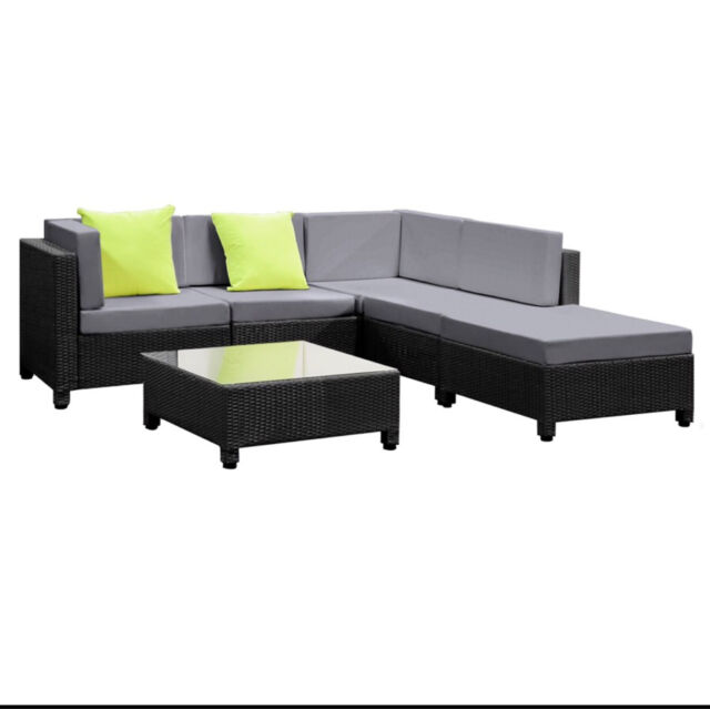 Wicker Rattan 5 Seater Outdoor Lounge Outdoor Dining