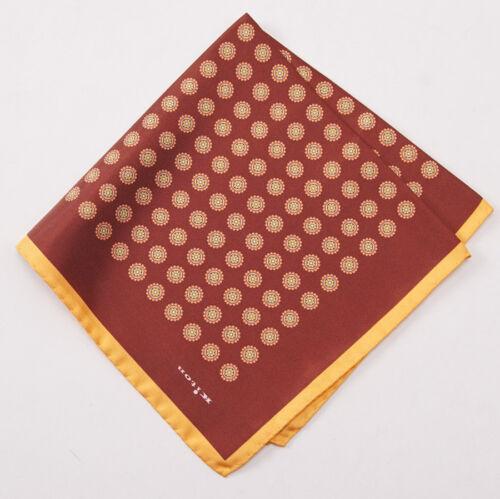 New $215 KITON NAPOLI Rust-Gold Floral Medallion Print Silk Pocket Square