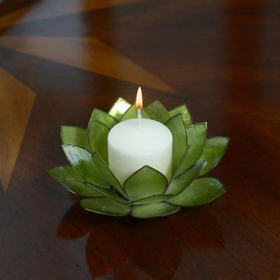 Lotus Flower Candle Holder With Jewel Encrusted Case - Green](Candle Character)