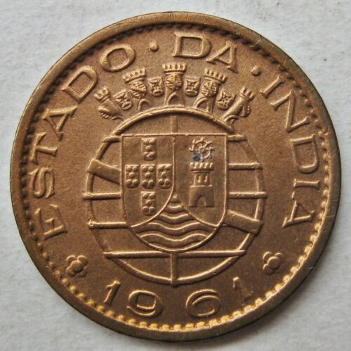 PORTUGUESE INDIA 1961 BRONZE TEN CENTAVOS COIN (KM# 30)