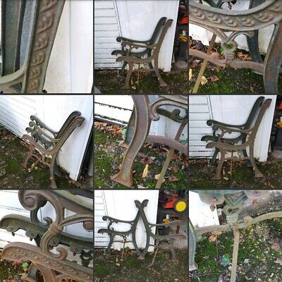 *Used* Lovely Heavy Metal Decorative Garden ~Bench Seat Ends~Rustic Parts Spares
