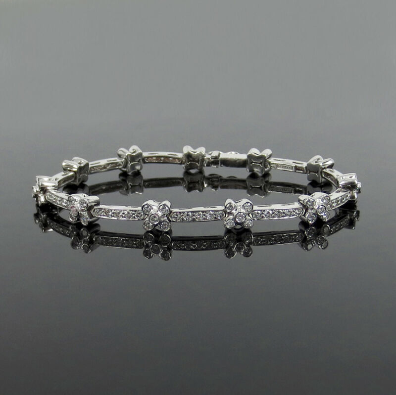 Fine Gerard 2.50ct Fg/vs Round Diamond 18k White Gold Flower Link Bracelet