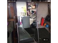 Free standing shop mirror on wheels