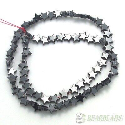 Natural Jet Hematite Gemstones Flat Star Spacer Loose Beads 6mm 8mm 10mm (10 Mm Flat Star)