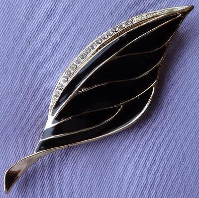 Vintage Black Enamel Diamante Stone Leaf Brooch
