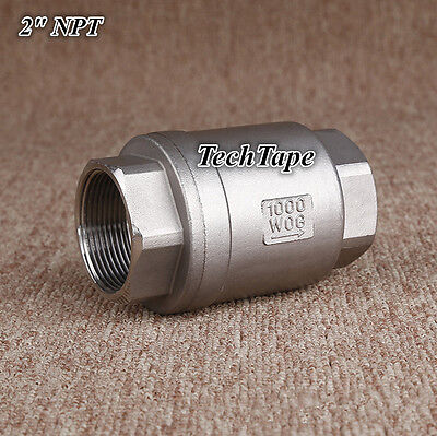 Check Valve 2 Inch Npt Spring Noreturn Valve Stainless Steel Water Oil Gas Us