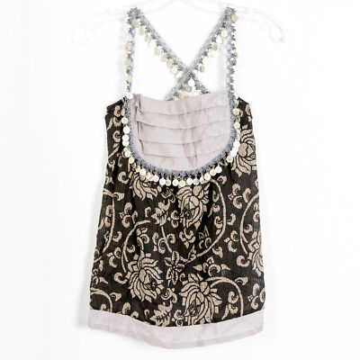 NWT Ethnic coin belly dance top women's boho tank S small indian nepal (Belly Dance Tank Top)