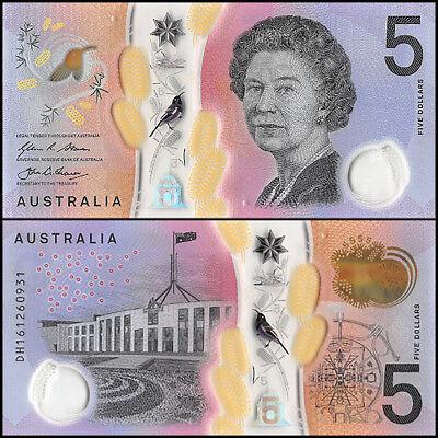 Australia 5 Dollars  2016  P New  Unc  Polymer  Queen Elizabeth Ii  Qeii