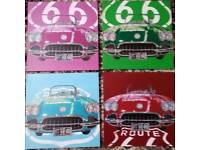 Framed route 66 car prints